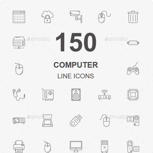 150 Computer Hardware line icons