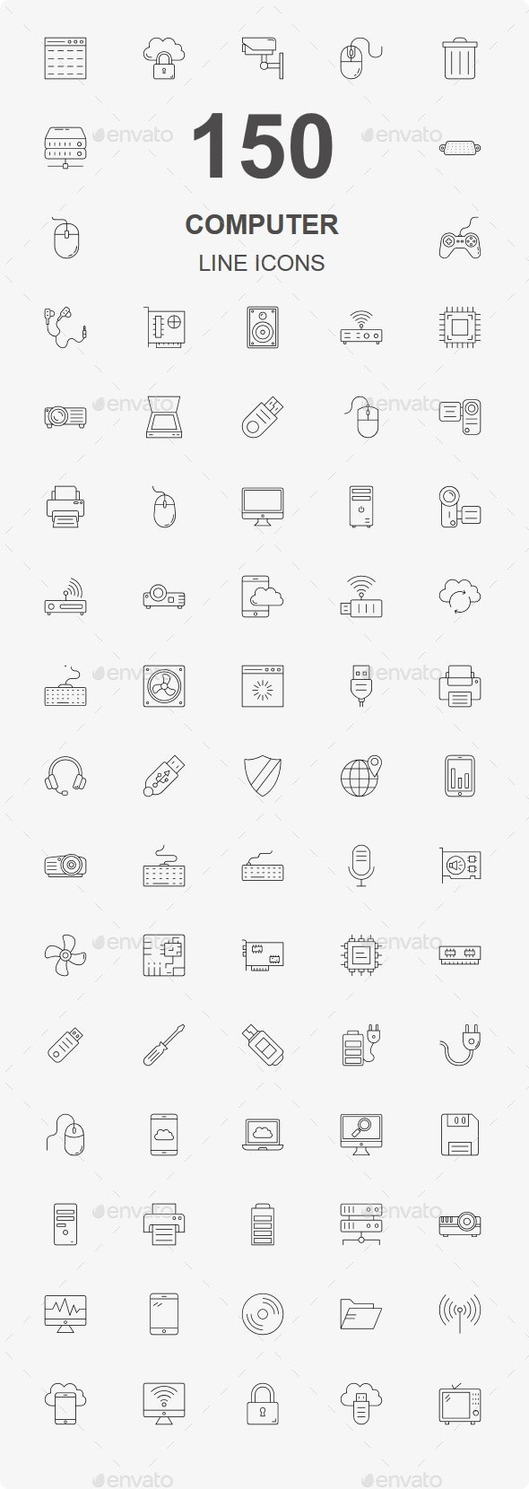 150 Computer Hardware line icons - Business Icons