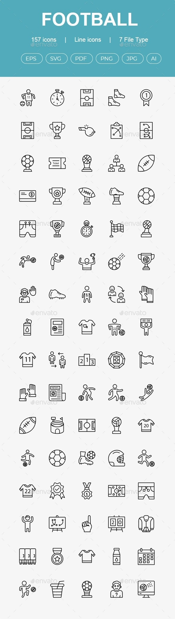 Football line icons