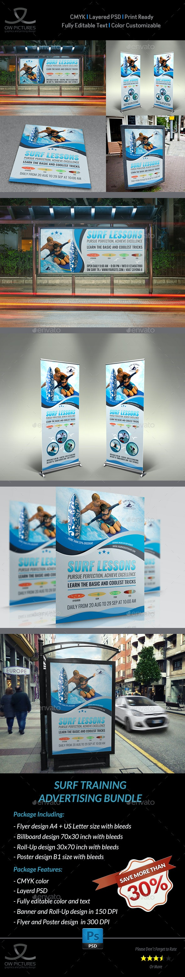 Surf Sport Training Advertising Bundle - Signage Print Templates
