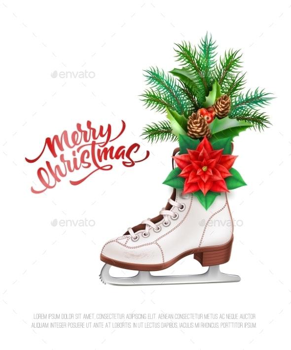 Vector Realistic Merry Christmas Holly Leaves Fir - Christmas Seasons/Holidays