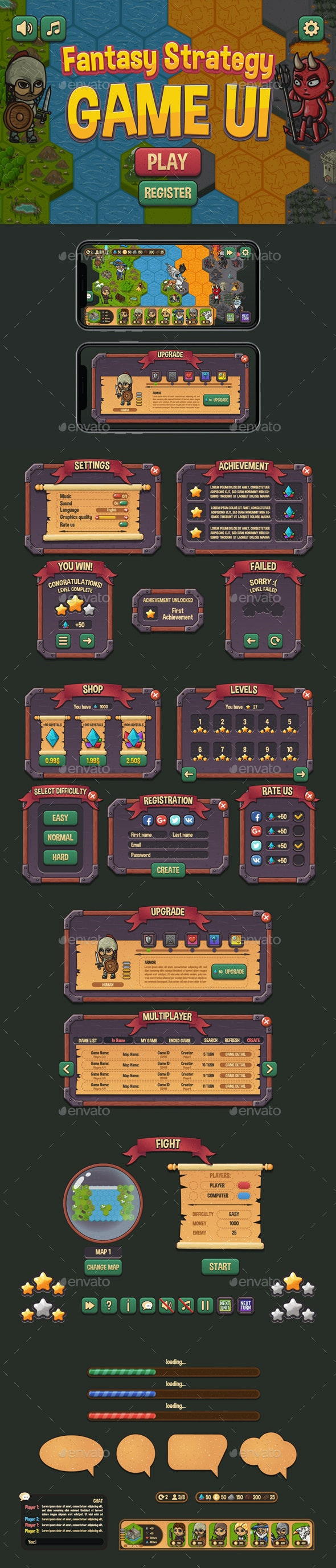 Fantasy Strategy GUI - User Interfaces Game Assets