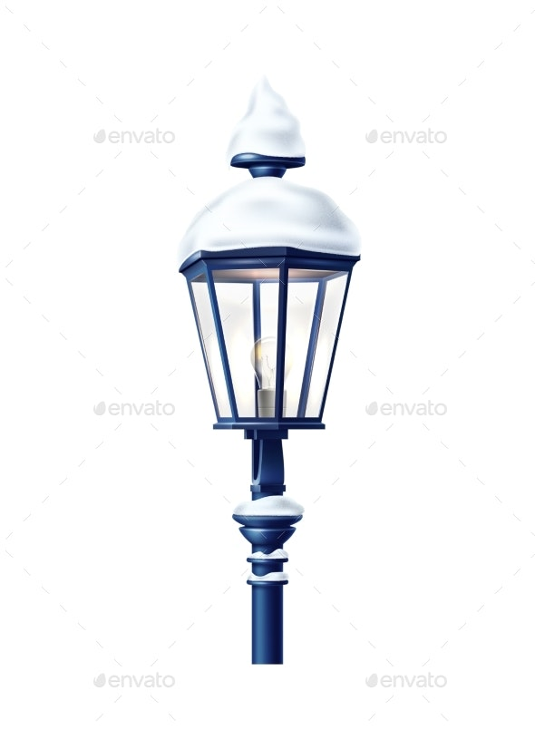 Vector Realistic Streetlight with Snowcap - Buildings Objects