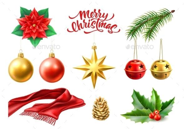 Vector Merry Christmas Realistic Symbols Toys Set - Christmas Seasons/Holidays