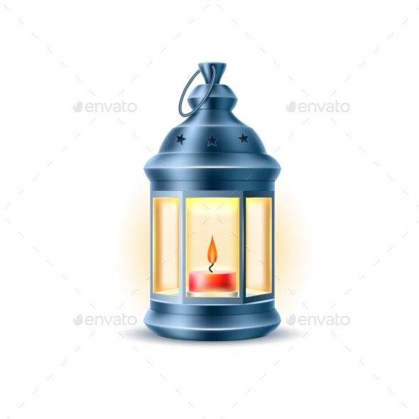 Vector Vintage Old Lantern with Candle - Miscellaneous Vectors
