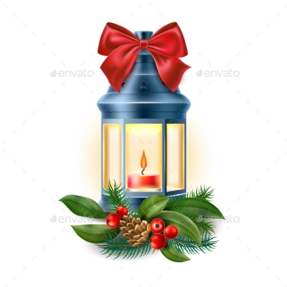 Vector Vintage Old Lantern with Candle - Christmas Seasons/Holidays
