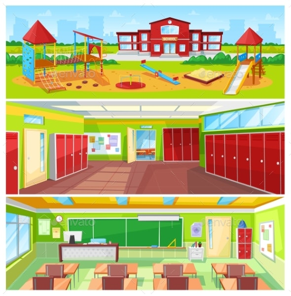 School Interior and Outdoor Yard Colorful Banner - Buildings Objects