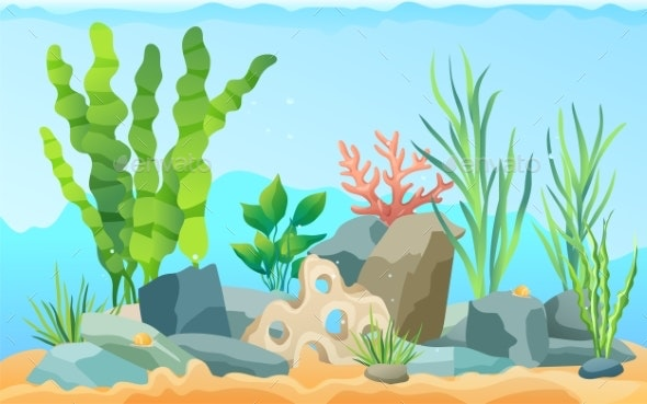 Seascape Rocks and Plants Vector Illustration - Animals Characters