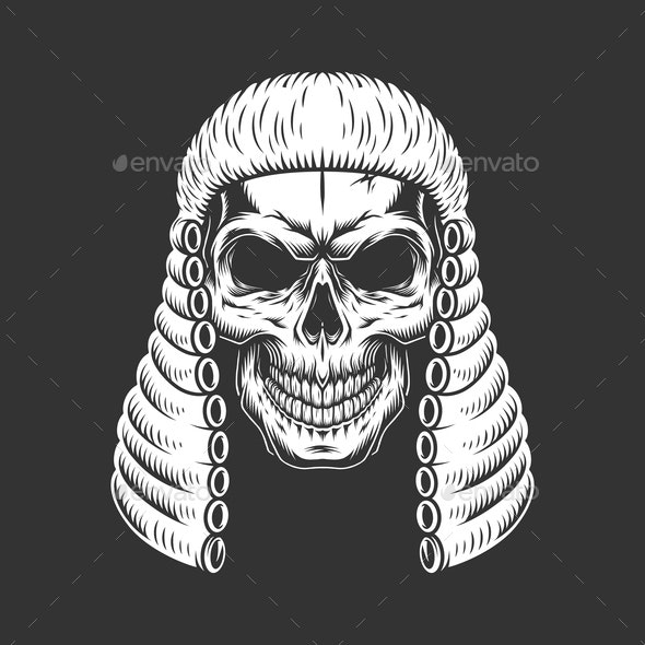 Skull Wearing Judge Wig - People Characters