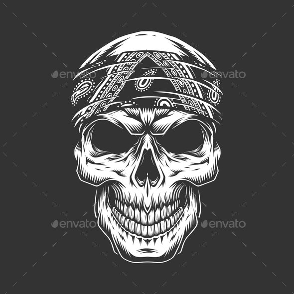 Rock and Roll Skull with Bandanna - People Characters