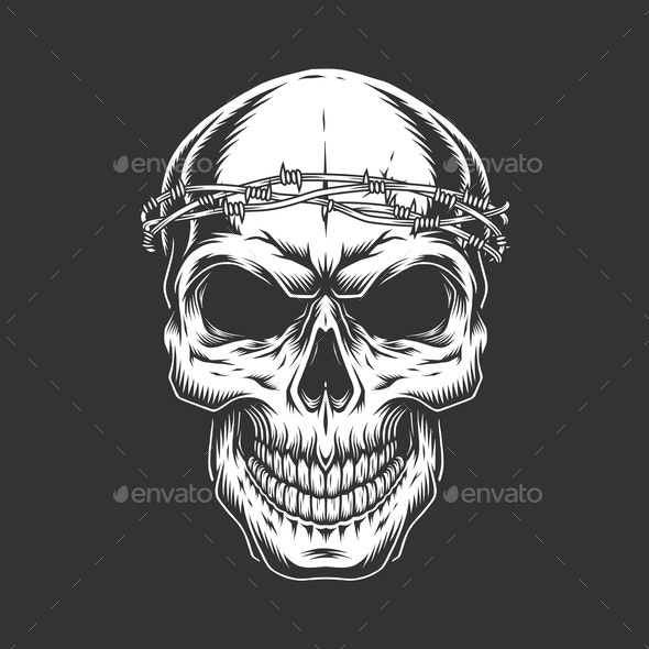 Vintage Bald Skull with Chain Headwear - Miscellaneous Vectors