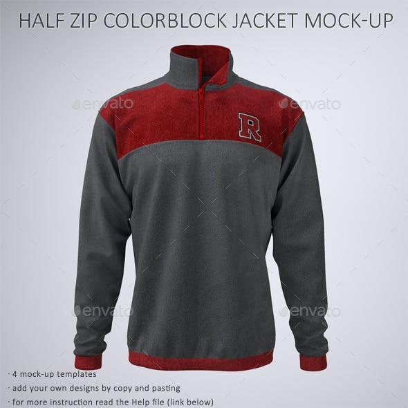 Half Zip Fleece Track Jacket Mock-Up