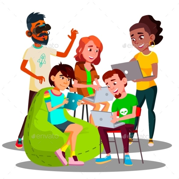 Sitting Students With Laptops And Smartphones - People Characters