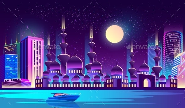 Vector Night City with Muslim Mosque Skyscrapers - Buildings Objects