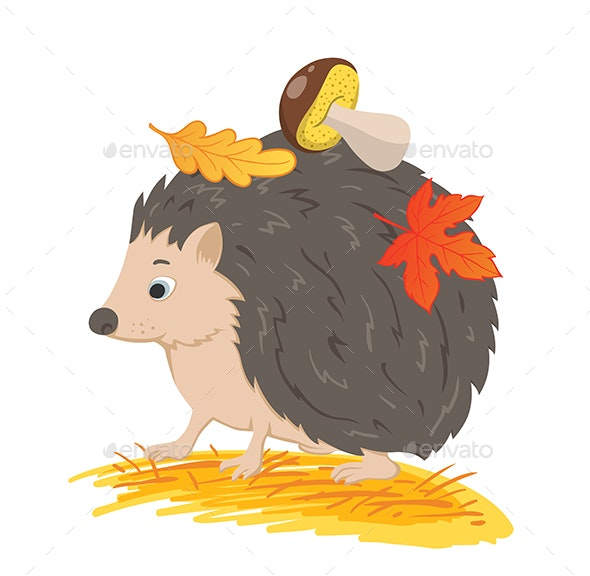 Hedgehog with Autumn Leaves and Mushroom - Animals Characters