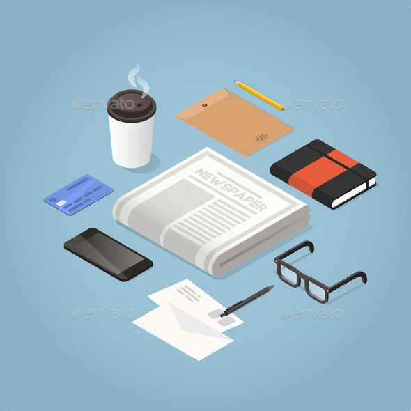 Isometric Morning Newspaper Illustration - Miscellaneous Vectors