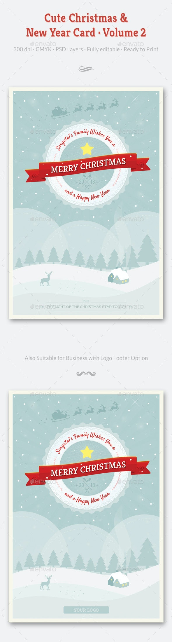 Cute Christmas and New Year Card - Volume 02 - Holiday Greeting Cards