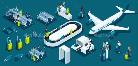 Isometry Concept for Airport, Passengers, Airplanes, Flight Attendants - Business Conceptual