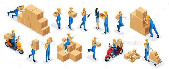 Isometric Warehouse Workers, Delivery Service - Miscellaneous Vectors