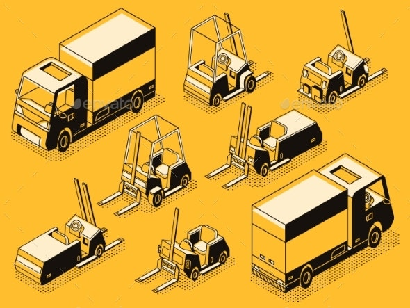 Cargo Truck and Loading Machines Line Vector Set - Miscellaneous Vectors