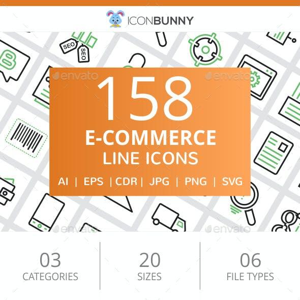 158 E-Commerce Line Green & Black Icons