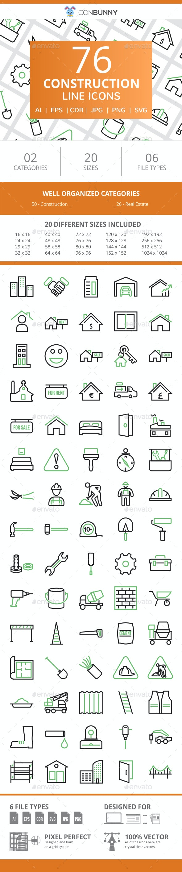 76 Construction Line Green & Black Icons - Icons
