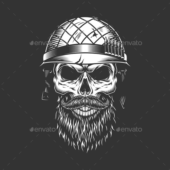 Monochrome Vintage Soldier Skull - People Characters