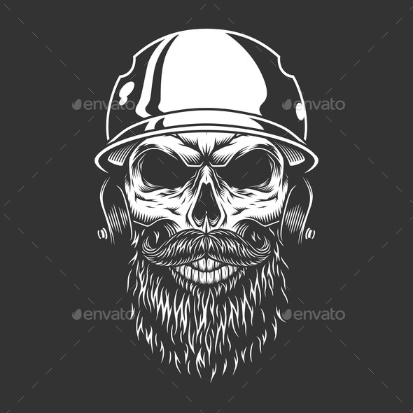 Bearded and Mustached Baseball Player Skull - Sports/Activity Conceptual