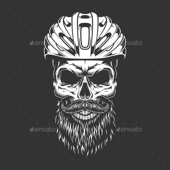 Vintage Cyclist Bearded Skull - Sports/Activity Conceptual