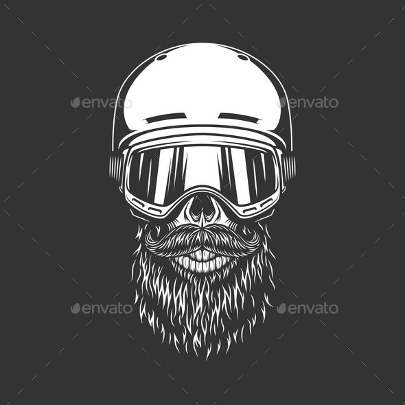 Vintage Snowboarder Bearded Skull - Sports/Activity Conceptual