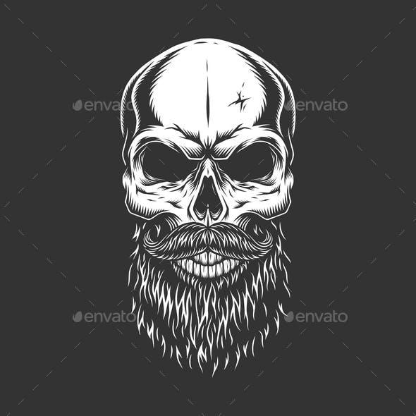 Monochrome Skull with Beard