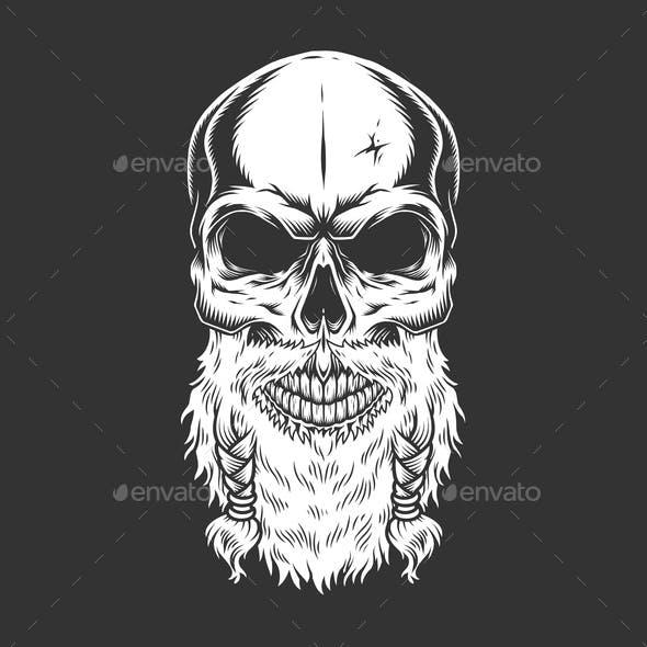 Vintage Stern Scandinavian Skull