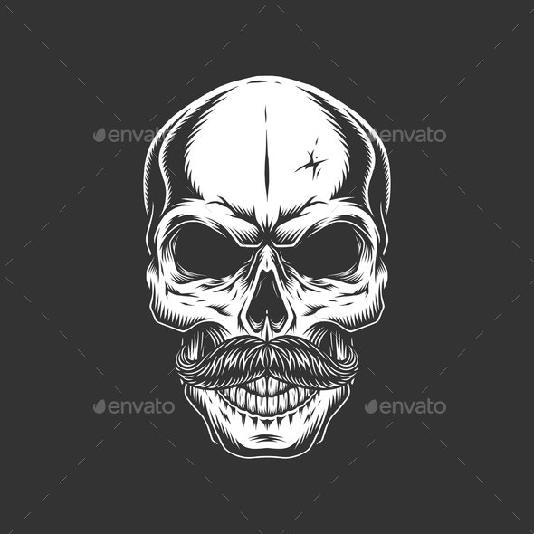 Vintage Skull with Mustache - Miscellaneous Vectors