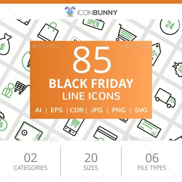 85 Black Friday Line Green & Black Icons