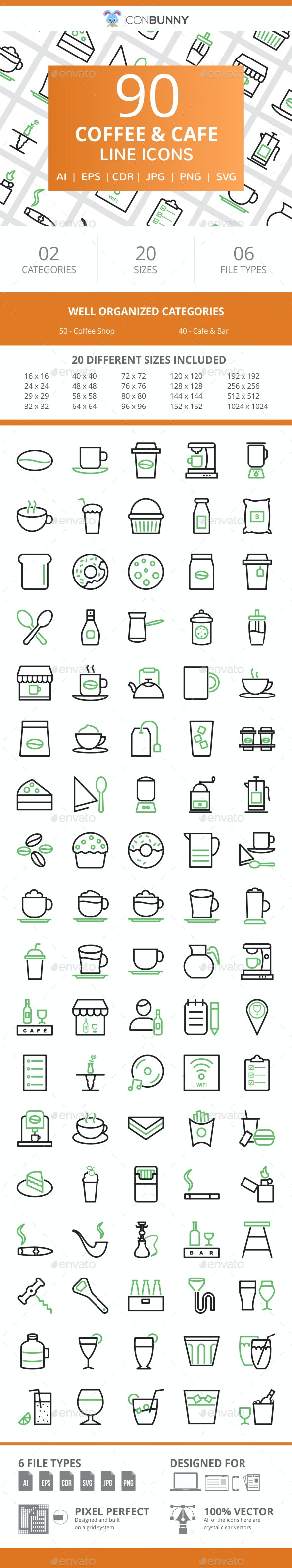 90 Coffee & Cafe Line Green & Black Icons - Icons