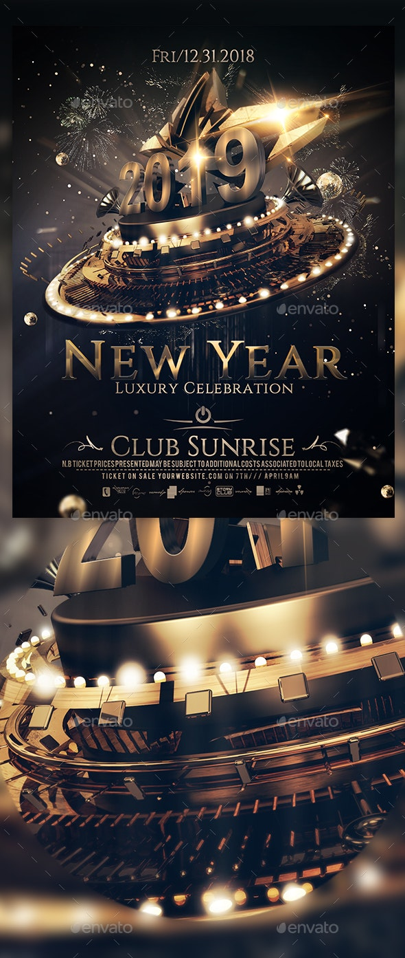 New Year Luxury Celebration A4 Poster - Events Flyers