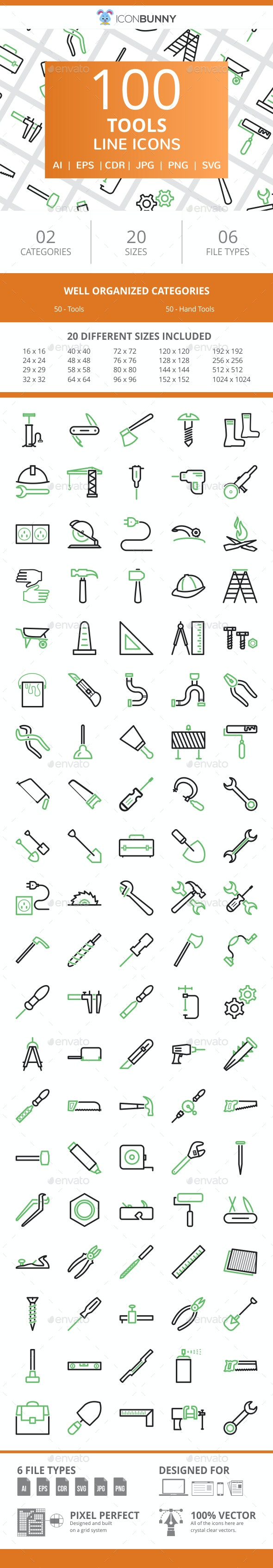 100 Tools Line Green & Black Icons - Icons