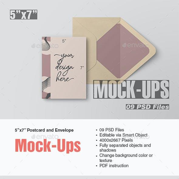 5x7 Postcard and Envelope Mockup