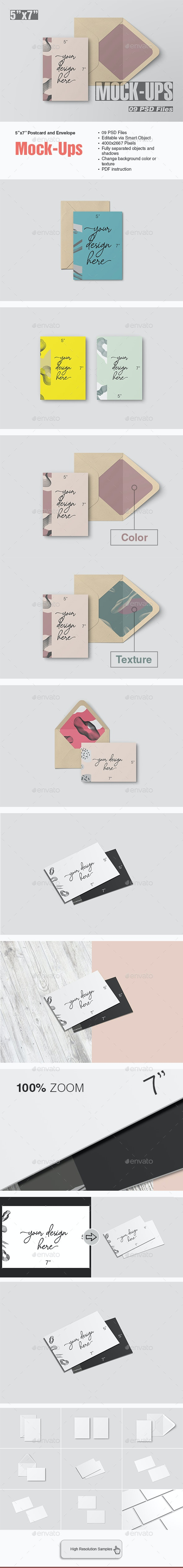 5x7 Postcard and Envelope Mockup - Print Product Mock-Ups