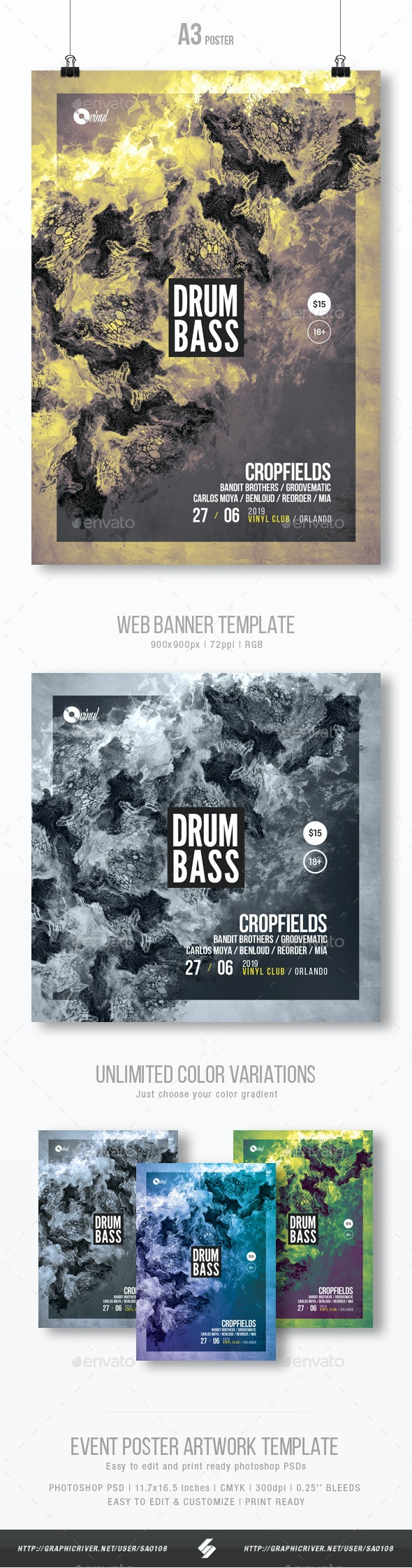 Drum and Bass - Abstract Party Flyer / Poster Template A3 - Clubs & Parties Events