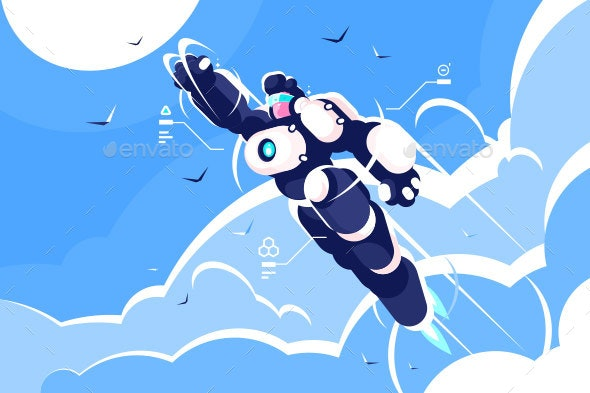 Man Astronaut Super Hero Spacesuit Flying in Sky - Miscellaneous Characters