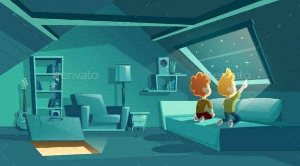 Vector Attic at Night with Kids Watching Stars - Backgrounds Decorative