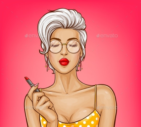 Vector Girl with Red Lipstick - People Characters