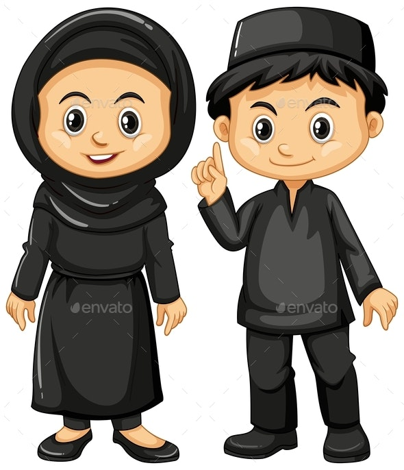Indonesian Boy and Girl In Black Costumes - People Characters