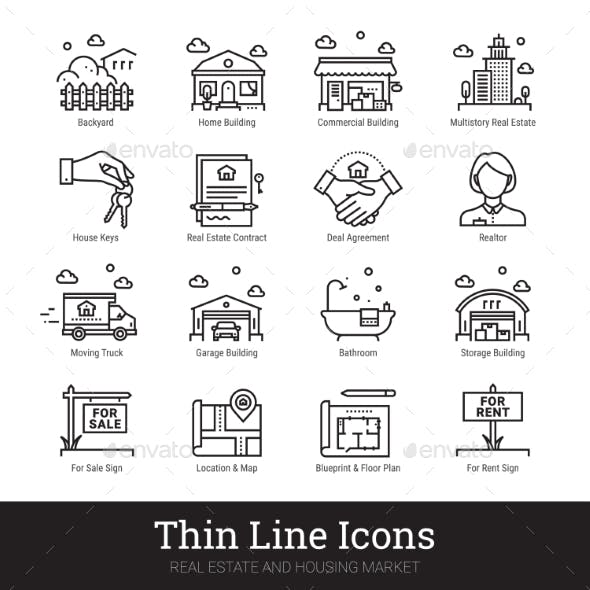 Real Eestate, Moving, Buying House Thin Line Icons