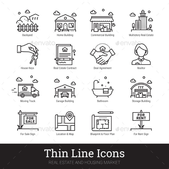 Real Eestate, Moving, Buying House Thin Line Icons by