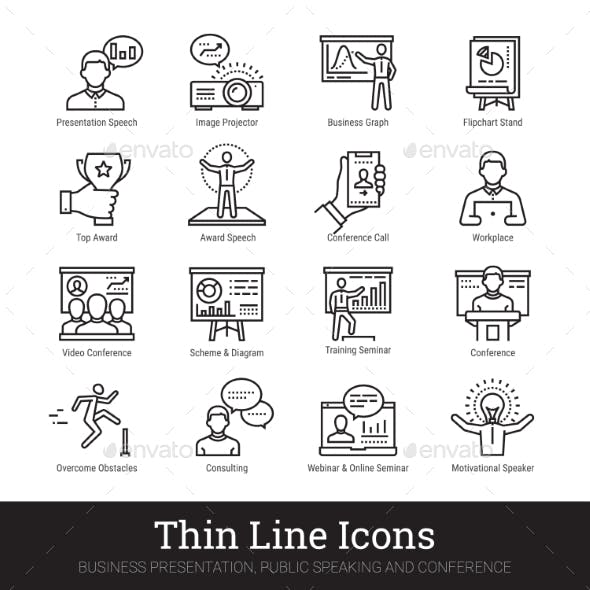 Business Presentation, Public Speech Linear Icons