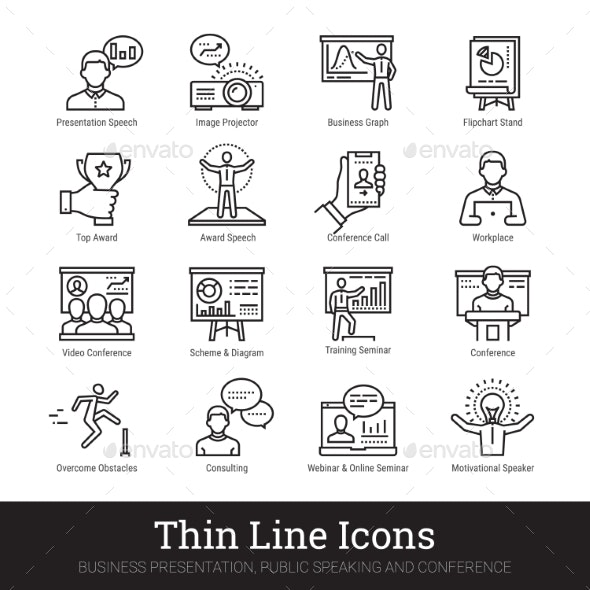Business Presentation, Public Speech Linear Icons - Business Icons