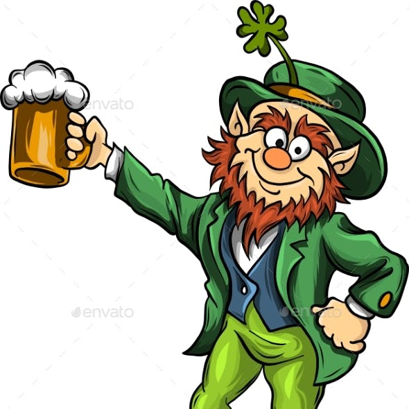 Vector Elf Leprechaun with Beer for Saint Patrick