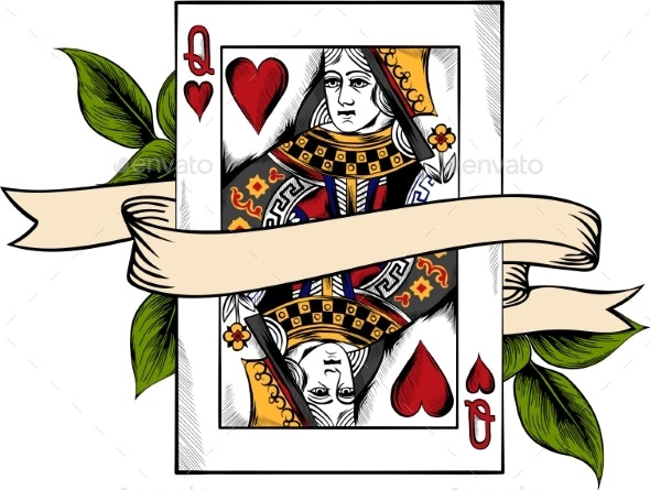 Vector Illustration Playing Card, Queen of Heart - Miscellaneous Vectors